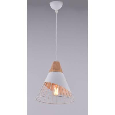 Lámpara colgante blanco y madera