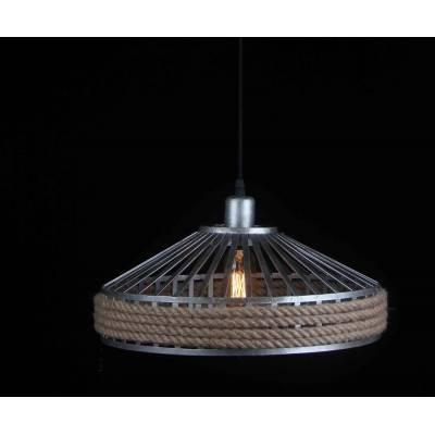 Lámpara colgante metal con pantalla cuerda