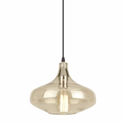 Lámpara de techo colgante Evora, cuero/ámbar
