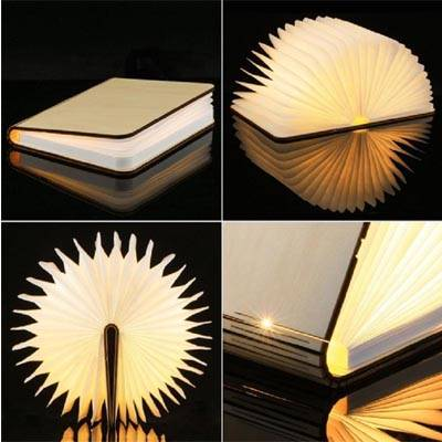 Lámpara libro pequeño, libro con iluminación al abrir