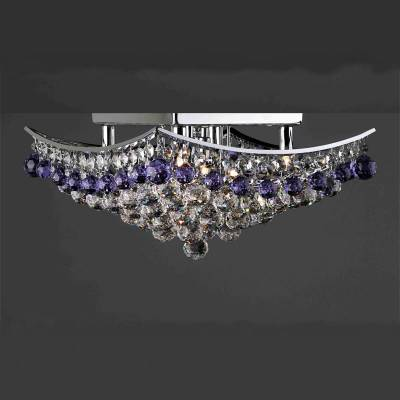 Plafón cromo+strass con perlas transparentes