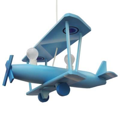 Lámpara colgante Biplano azul grande