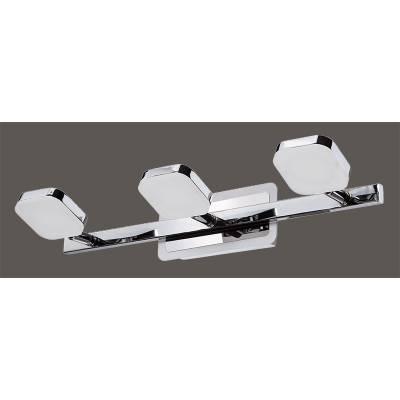 Aplique LED 3 focos cromo/blanco
