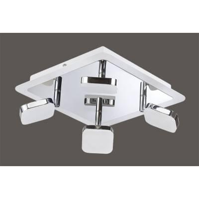 Base 4 focos LED cromo/blanco