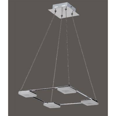 Lámpara de techo cuadrada 4 focos LED cromo
