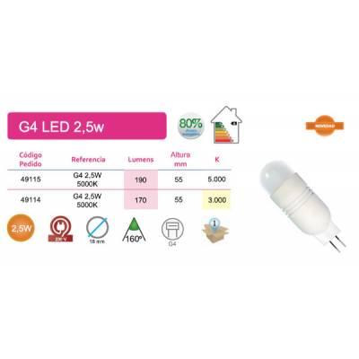 Bombilla G4 LED 2,5W luz cálida