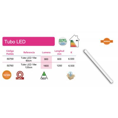 Tubo LED T8 10W 60cm