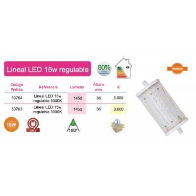 Bombilla lineal LED 118mm 15W luz cálida