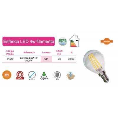 Bombilla esférica LED filamentos 4W E14 luz cálida