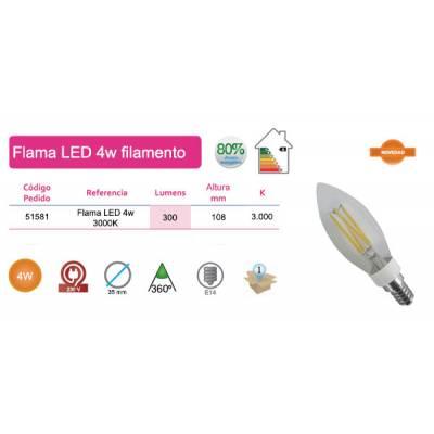 Bombilla flama LED filamentos 4W E14 luz cálida