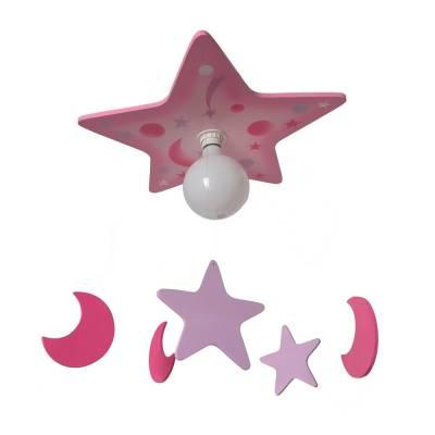 Lámpara colgante Estrellas lunas rosa