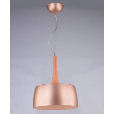 Lámpara colgante cobre y madera