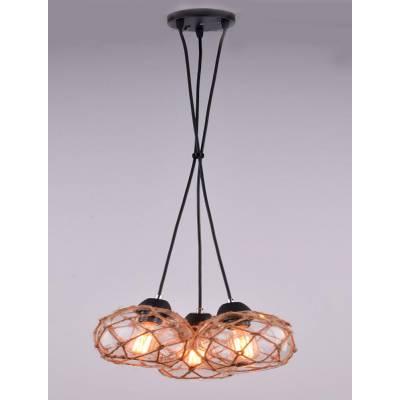 Lámpara colgante cristal y cuerda tres elementos