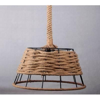 Lámpara colgante negra con pantalla cuerda