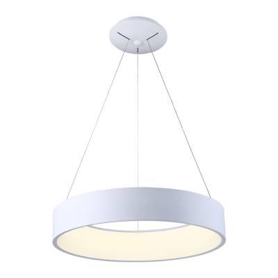 Lámpara colgante Led blanca cilíndrica regulable en altura