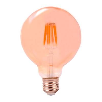 Bombilla globo filamento LED ámbar.