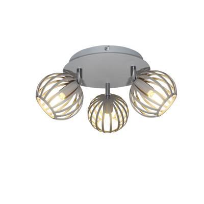 Plafón de 3 luces Gris arena, lámpara de techo
