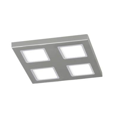 Plafon cuadrado led 4x12w plata bisel cromo
