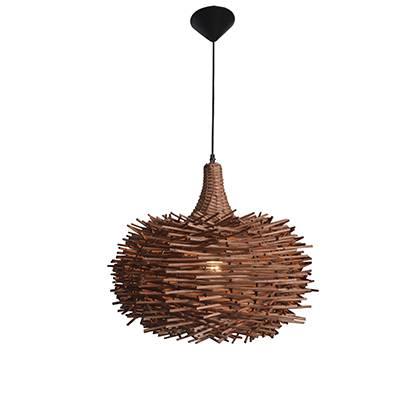 Lámpara colgante Nido, madera natural cafe claro