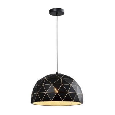Lámpara colgante negro-oro semiesférica estructura triángulo