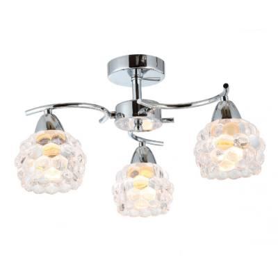 lámpara de 3 luces metal cromo burbujas