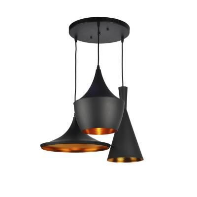 Lámpara colgante 3l negro dorado