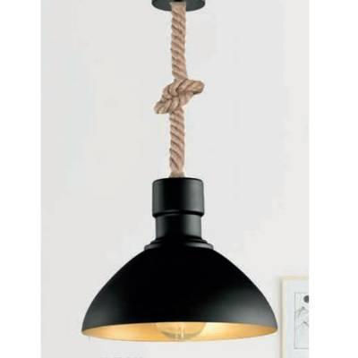 Lámpara negro/oro soga